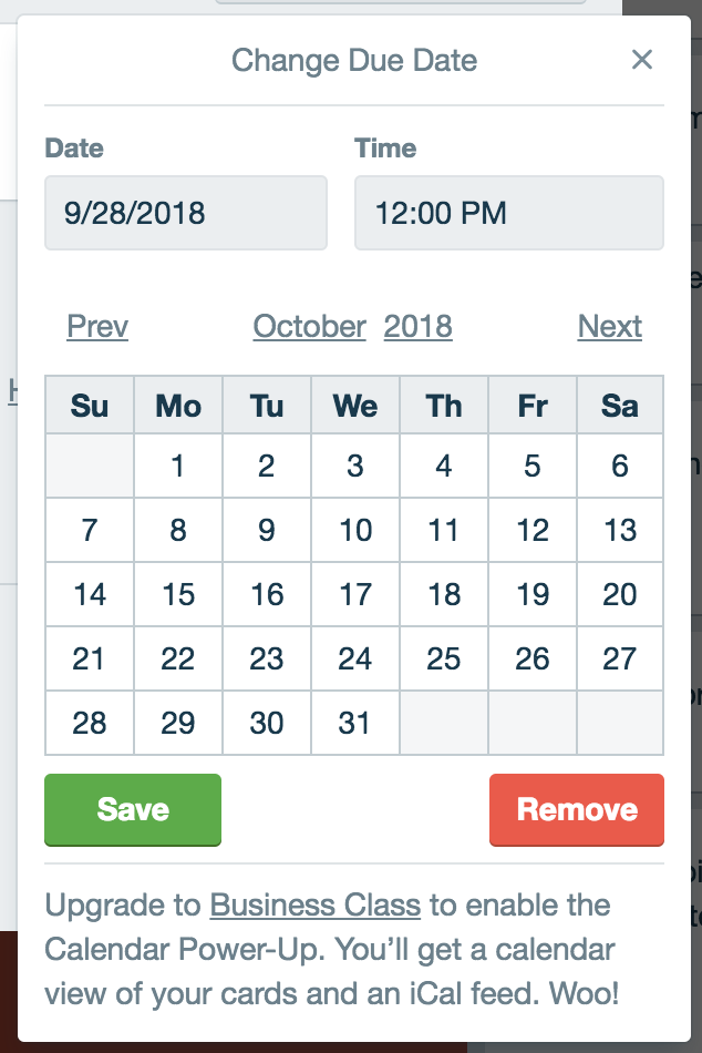 Trello's beautiful date picker